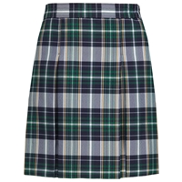 Christopher Plaid Stitched Down Kick Pleat Skirt with Side Zipper