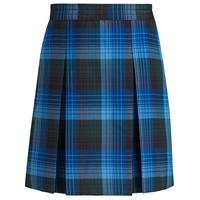 Douglas Plaid Stitched Down Kick Pleat Skirt with Side Zipper