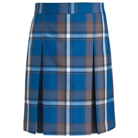 Grant Plaid Stitched Down Kick Pleat Skirt with Side Zipper