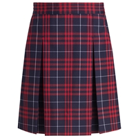Hamilton Plaid Stitched Down Kick Pleat Skirt with Side Zipper