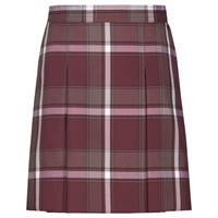 James Plaid Stitched Down Kick Pleat Skirt with Side Zipper