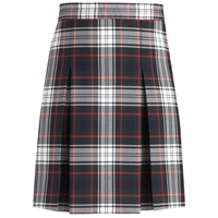 Lloyd Plaid Stitched Down Kick Pleat Skirt with Side Zipper
