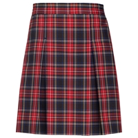Macbeth Plaid Stitched Down Kick Pleat Skirt with Side Zipper
