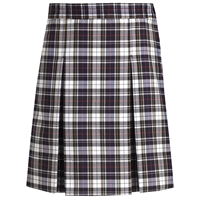 Marymount Plaid Stitched Down Kick Pleat Skirt with Side Zipper