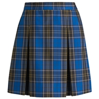 Mayfair Plaid Stitched Down Kick Pleat Skirt with Side Zipper