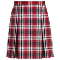 McDonald Plaid Stitched Down Kick Pleat Skirt with Side Zipper