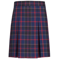 Wilson Plaid Stitched Down Kick Pleat Skirt with Side Zipper