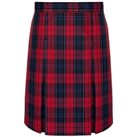 Woodland Plaid Stitched Down Kick Pleat Skirt with Side Zipper