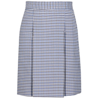 Blue Black & White Check Box Pleated Skirt