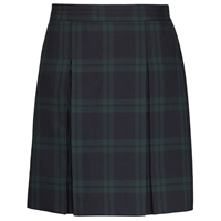Blackwatch Plaid Stitched Down Kick Pleat Skirt with Side Zipper with School Logo