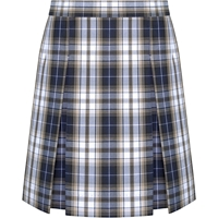 Alexander Plaid Stitched Down Kick Pleat Skirt with Side Zipper