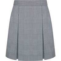 Navy & White Shadow Plaid Stitched Down Kick Pleat Skirt with Side Zipper
