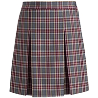 MM Plaid Stitched Down Kick Pleat Skirt with Side Zipper