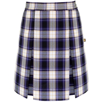 Fremont Plaid Stitched Down Kick Pleat Skirt with Side Zipper