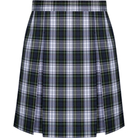 Belmont Plaid Stitched Down Kick Pleat Skirt with Side Zipper
