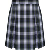 Belmont Plaid Stitched Down Kick Pleat Skirt with Side Zipper