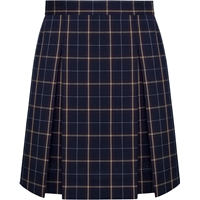 Burlingame Plaid Box Pleated Skirt with School Logo