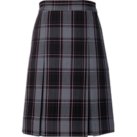 Chandler Plaid Stitched Down Kick Pleat Skirt with Side Zipper