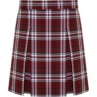 Charleston Plaid Stitched Down Kick Pleat Skirt with Side Zipper