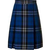Harris Plaid Stitched Down Kick Pleat Skirt with Side Zipper