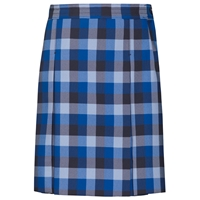 Hastings Plaid Stitched Down Kick Pleat Skirt with Side Zipper