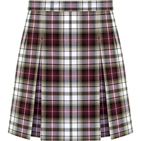 Manchester Plaid Stitched Down Kick Pleat Skirt with Side Zipper