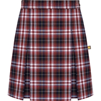 Ridgeland Plaid Stitched Down Kick Pleat Skirt with Side Zipper