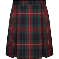 Carrington Plaid Stitched Down Kick Pleat Skirt with Side Zipper