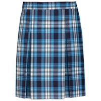 RR Plaid Stitched Down Kick Pleat Skirt with Side Zipper