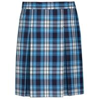 RR Plaid Stitched Down Kick Pleat Skirt with Side Zipper