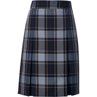 Tyler Plaid Stitched Down Kick Pleat Skirt with Side Zipper