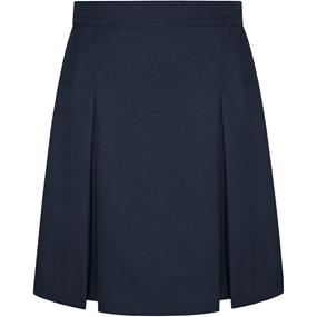Navy Gabardine Box Pleated Skirt