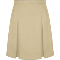 Khaki Gabardine Stitched Down Kick Pleat Skirt with Side Zipper