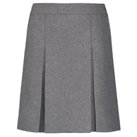Heather Grey Gabardine Stitched Down Kick Pleat Skirt with Side Zipper
