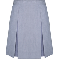 Light Navy Pinfeather Box Pleated Skirt