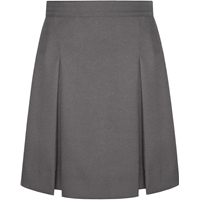 Dark Grey Stitched Down Kick Pleat Skirt with Side Zipper