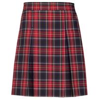 Macbeth Plaid Stitched Down Kick Pleat Long Skirt