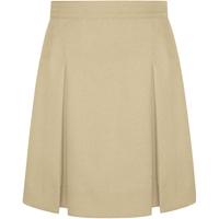 Khaki Gabardine Stitched Down Kick Pleat Long Skirt