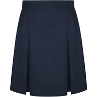 Navy Gabardine Stitched Down Kick Pleat Extra Long Skirt