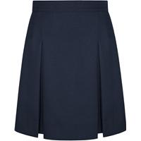 Navy Gabardine Stitched Down Kick Pleat Extra Long Skirt