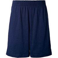 Navy Jersey Knit Athletic Short with School Logo