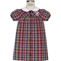 Primrose Plaid Peter Pan Collar Dress with School logo