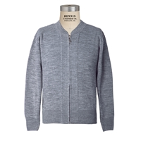 Heather Grey Zip-Up Cardigan Sweater with School Logo