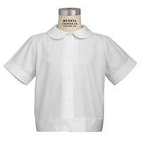 White Short Sleeve Banded Peter Pan Collar Blouse with School Logo