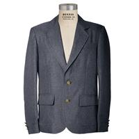 Grey Mens Long Gabardine Blazer with School Logo