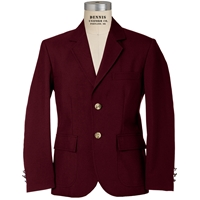 Burgundy Mens Long Blazer with School Logo