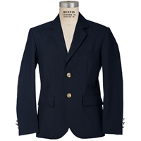 Navy Gabardine Mens Short Blazer with School logo