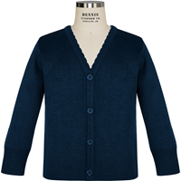 Navy Scallop Edge Cardigan Sweater with School logo