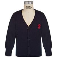 Navy Scallop Edge Cardigan Sweater with Primrose logo
