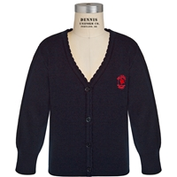 Navy Scallop Edge Cardigan Sweater with Primrose logo